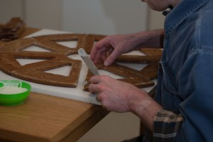 gluing wedges of gingerbread into gerris wheel