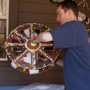 turning gingerbread ferris wheel upright